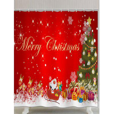 Merry Christmas Graphic Polyester Waterproof Shower Curtain