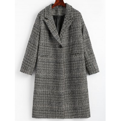 One Button Back Slit Checked Coat