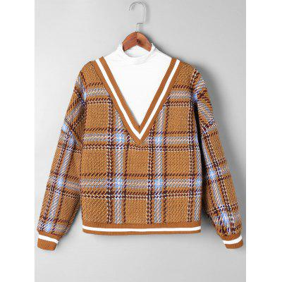 Contrast Trim Plaid Knitwear