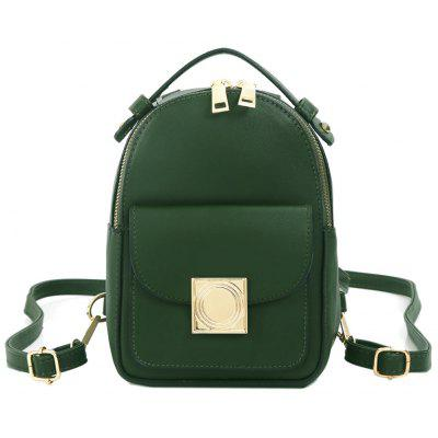 Metal Embellished PU Leather Backpack