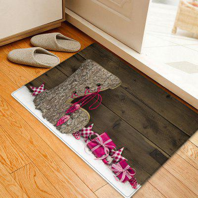 Christmas Wood Shoe Pattern Water Absorption Area Rug