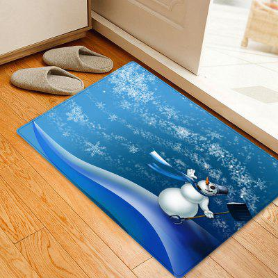 Christmas Snowman Snowflakes Pattern Water Absorption Area Rug