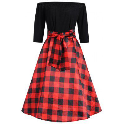 Plus Size Checked Off The Shoulder Vintage Dress