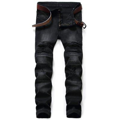 Slim Fit Zip Fly Destroyed Biker Jeans