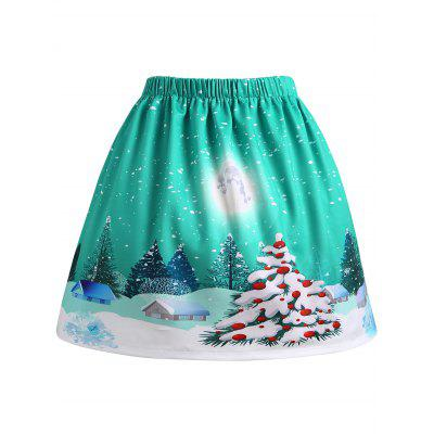 Buy GREEN 5XL Christmas Moon Tree House Print Plus Size Skirt for $19.89 in GearBest store
