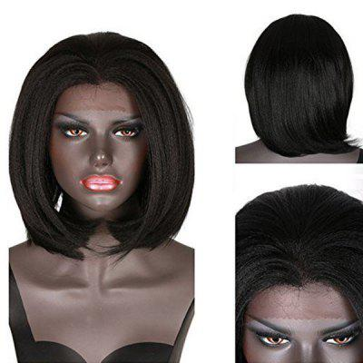 Short Straight Yaki Bob Lace Front Synthetic Wig