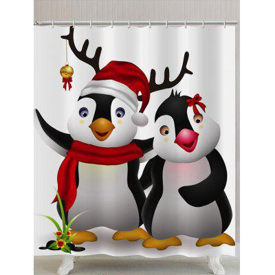 Christmas Cute Penguins Print Waterproof Shower Curtain