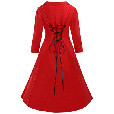 Buy RED 5XL Plus Size Lace Up Corset Waist Vintage Dress for $32.73 in GearBest store