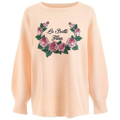 Plus Size Floral Letter Embroidered Sweater