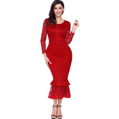 Lace Panel Long Sleeve Midi Mermaid DressBodycon Dresses<br>Lace Panel Long Sleeve Midi Mermaid Dress<br><br>Dresses Length: Mid-Calf<br>Embellishment: Lace<br>Material: Polyester, Spandex<br>Neckline: Round Collar<br>Package Contents: 1 x Dress<br>Pattern Type: Solid Color<br>Season: Fall, Spring, Winter<br>Silhouette: Bodycon<br>Sleeve Length: Long Sleeves<br>Style: Brief<br>Weight: 0.4200kg<br>With Belt: No