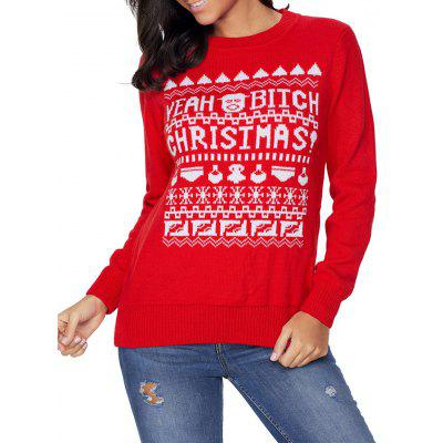 Christmas Crew Neck Graphic Jacquard Sweater