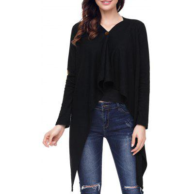 Single Button Elbow Patch Asymmetric Cardigan
