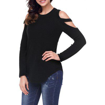 Cold Shoulder Crew Neck Knitted Sweater