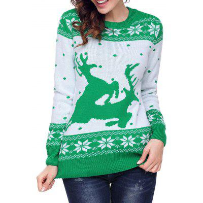 Christmas Snowflake Deer Jacquard Crew Neck Sweater
