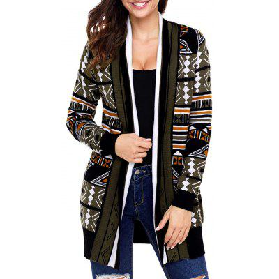 Geometric Patterned Shawl Collar Cardigan