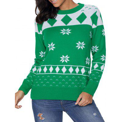 Christmas Crew Neck Snowflake Jacquard Sweater