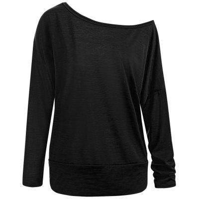 Plus Size Skew Neck Long Sleeve Plain T-shirt