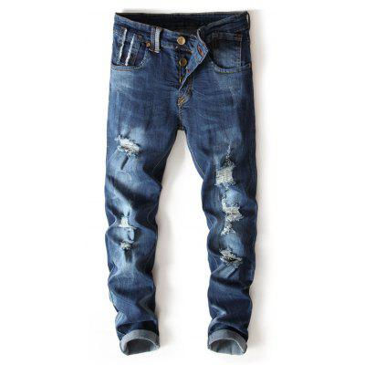 Buttons Bleached Wash Straight Leg Ripped Jeans