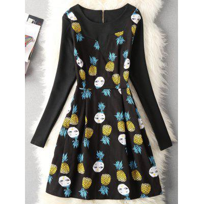 Cartoon Pineapple Print Fit and Flare Dress
