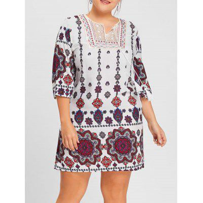 Plus Size Bohemian Floral Print Keyhole Dress