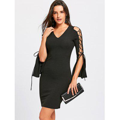 Lace Up Split Sleeve Bodycon DressBodycon Dresses<br>Lace Up Split Sleeve Bodycon Dress<br><br>Dresses Length: Mini<br>Material: Polyester, Spandex<br>Neckline: V-Neck<br>Package Contents: 1 x Dress<br>Pattern Type: Solid Color<br>Season: Spring, Fall<br>Silhouette: Bodycon<br>Sleeve Length: Long Sleeves<br>Style: Sexy &amp; Club<br>Weight: 0.3700kg<br>With Belt: No