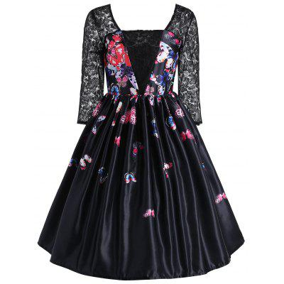 Butterfly Print Lace Panel Vintage Dress