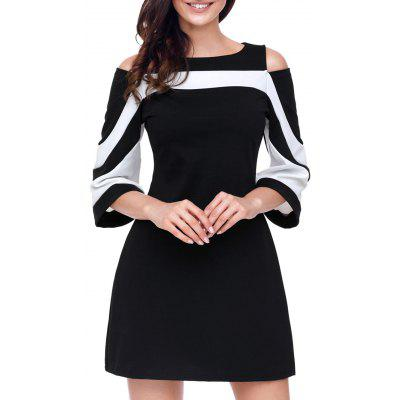 где купить Cold Shoulder Two Tone A-line Mini Dress дешево