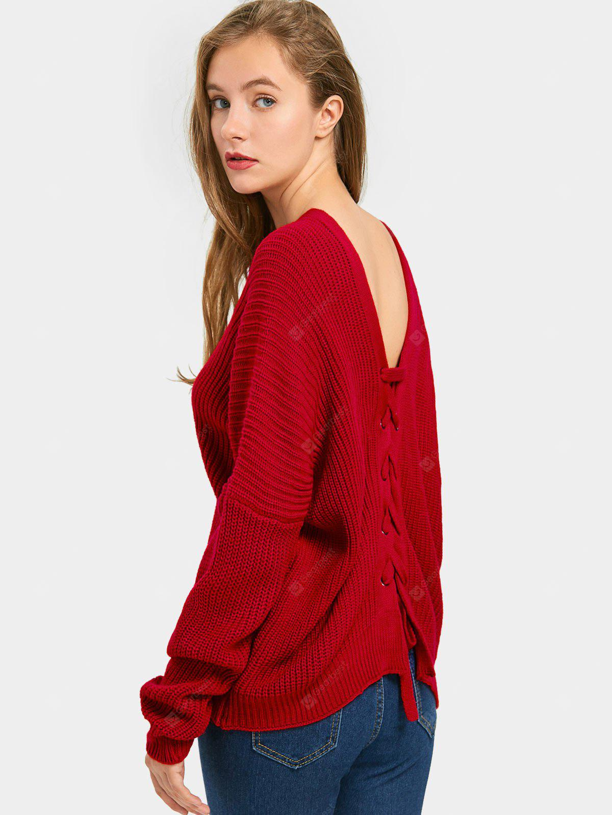 Back Lace Up V Neck Pullover Sweater