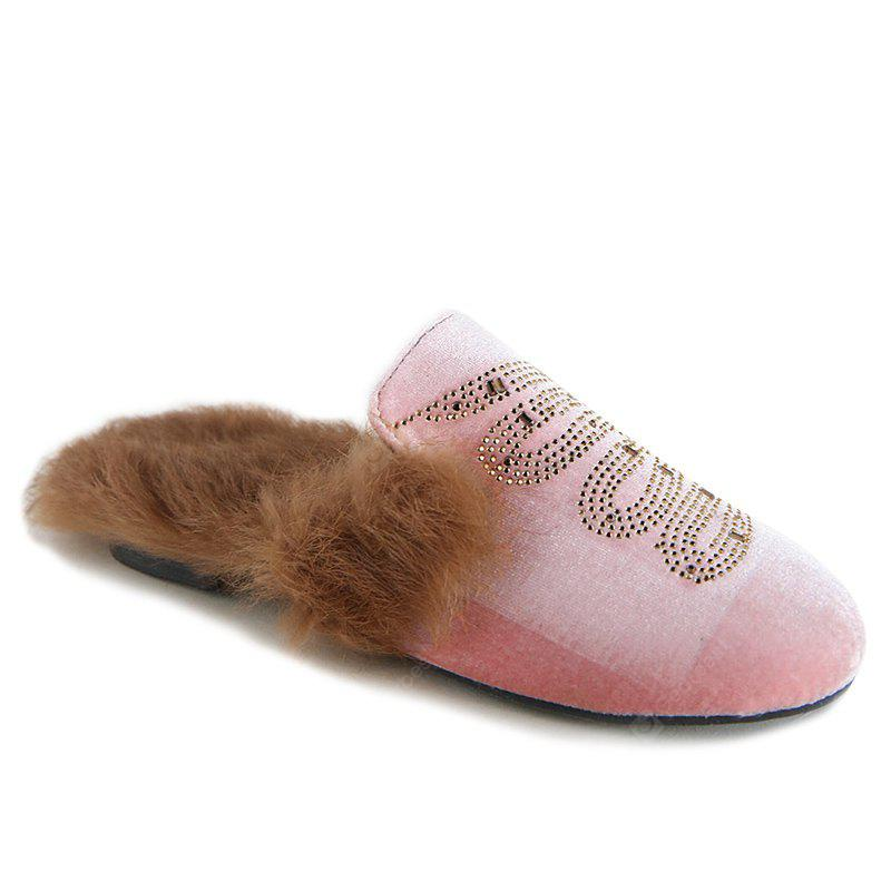 Sequins Faux Fur Mules Shoes