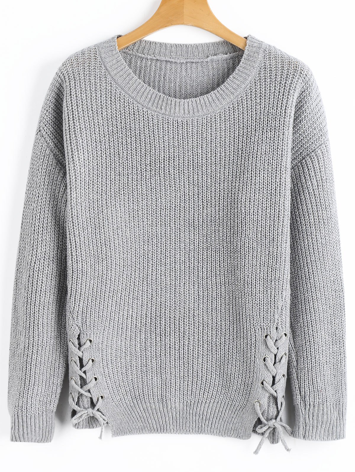 GRAY Ribbed Lace Up Pullover Sweater