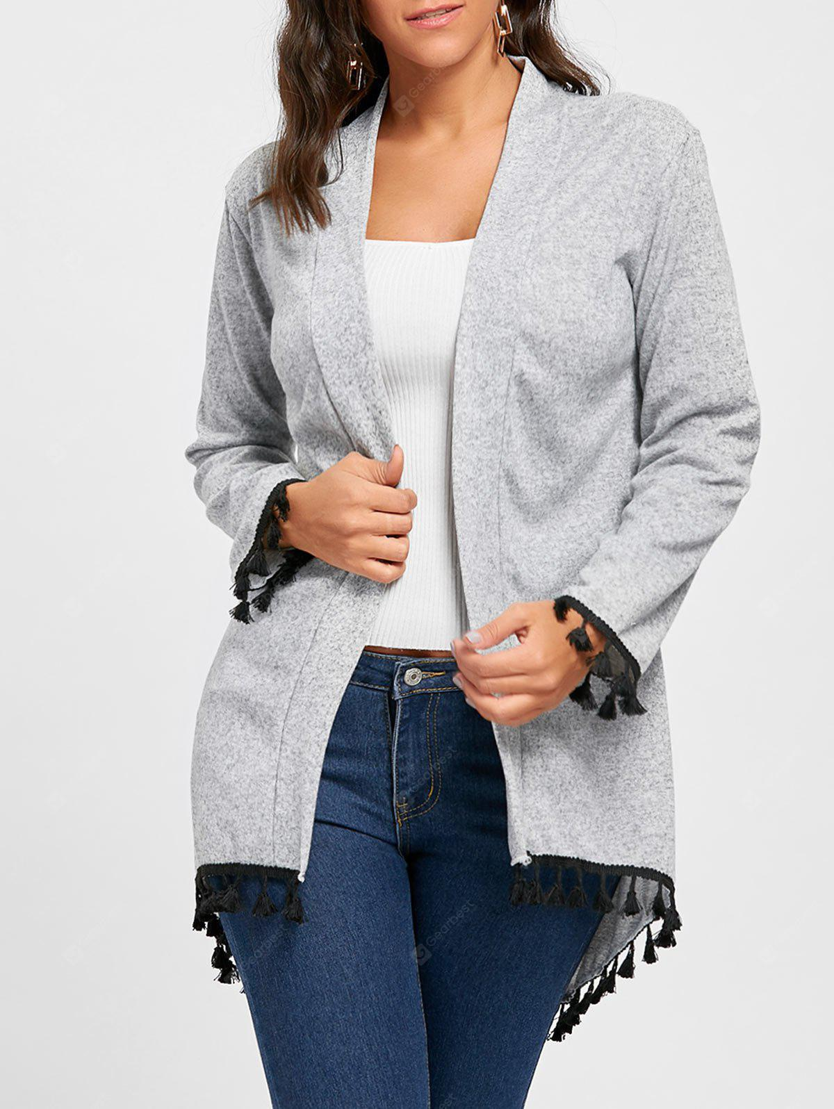 Open Front Tassels Tunic Cardigan