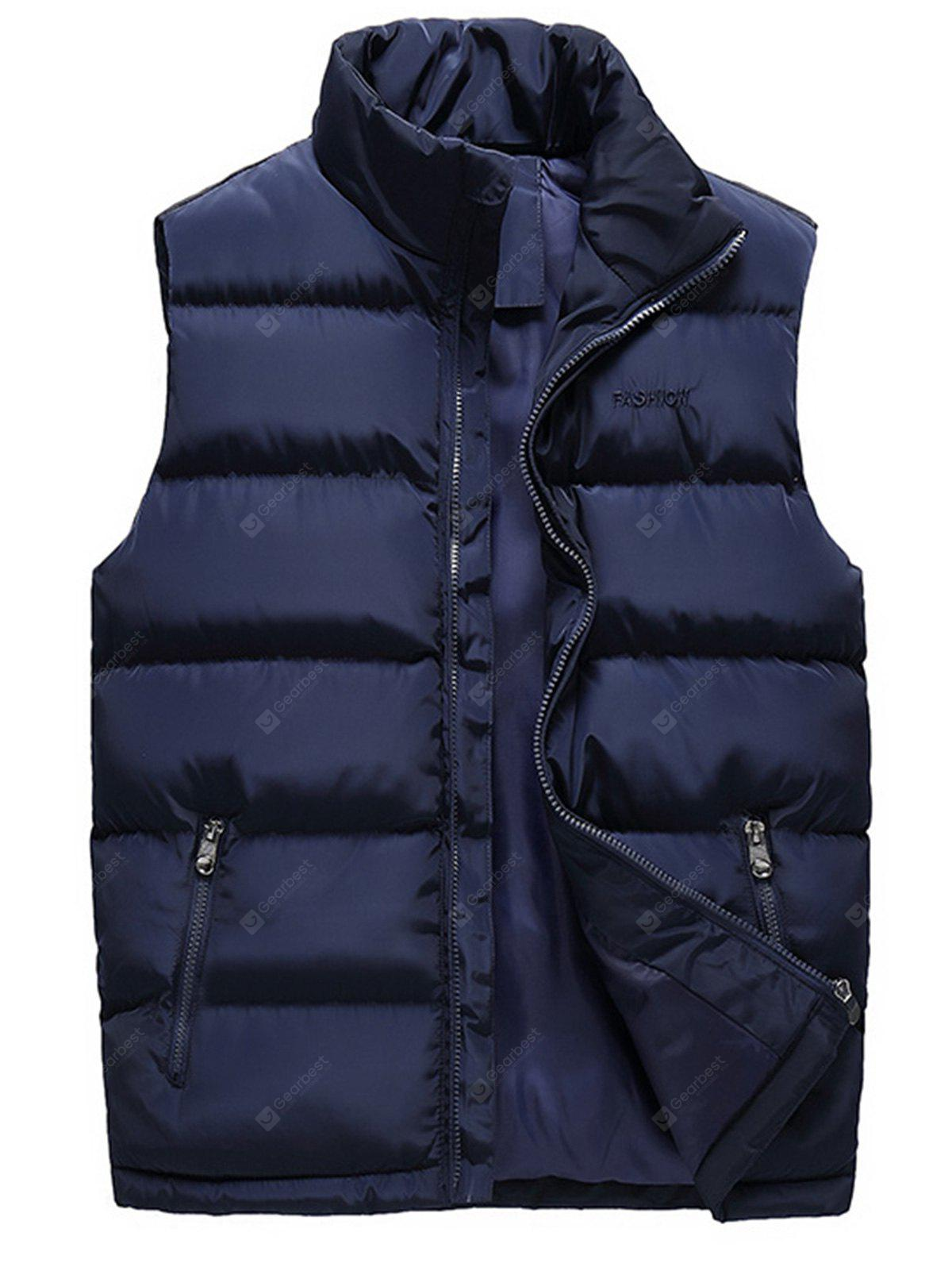 Stand Collar Embroidered Zip Up Padded Waistcoat