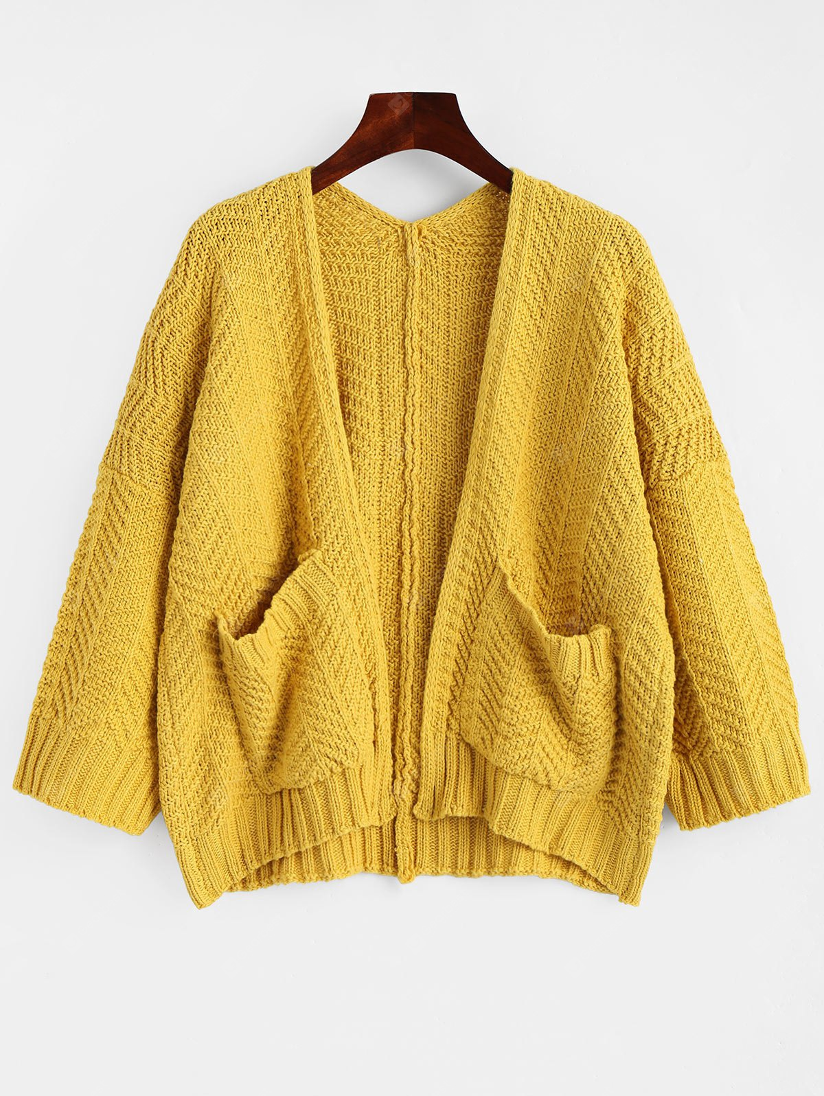 Chunky Knit Open Cardigan with Pockets