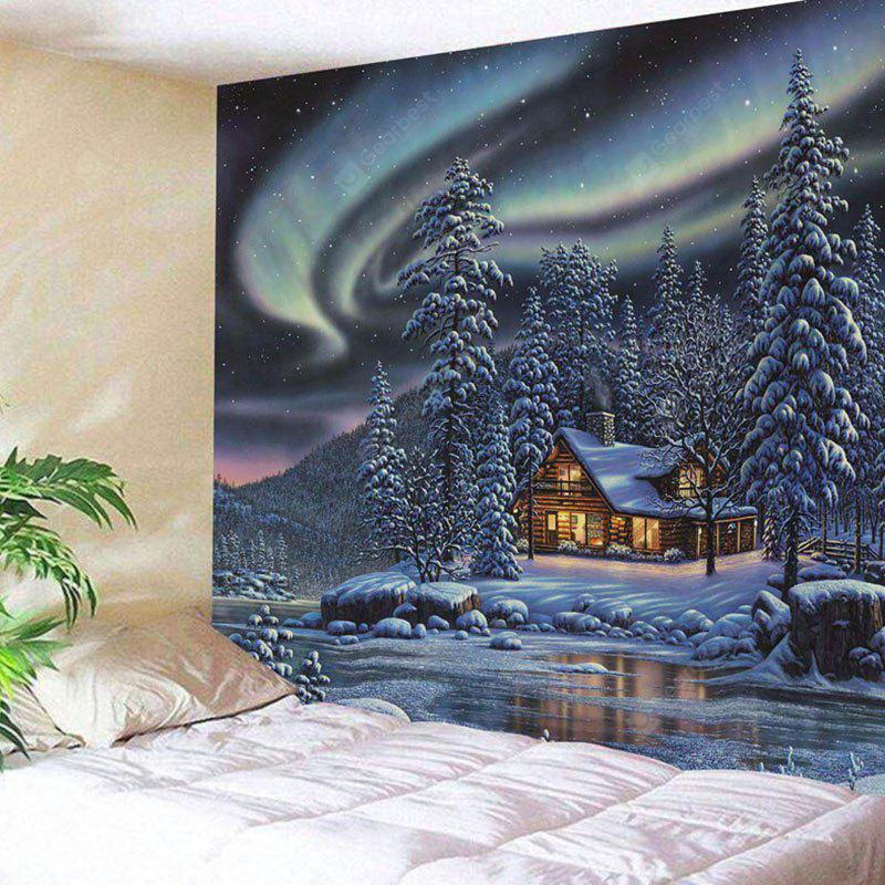 Snowy Trees Cabin River Aurora Print Wall Hanging Tapestry