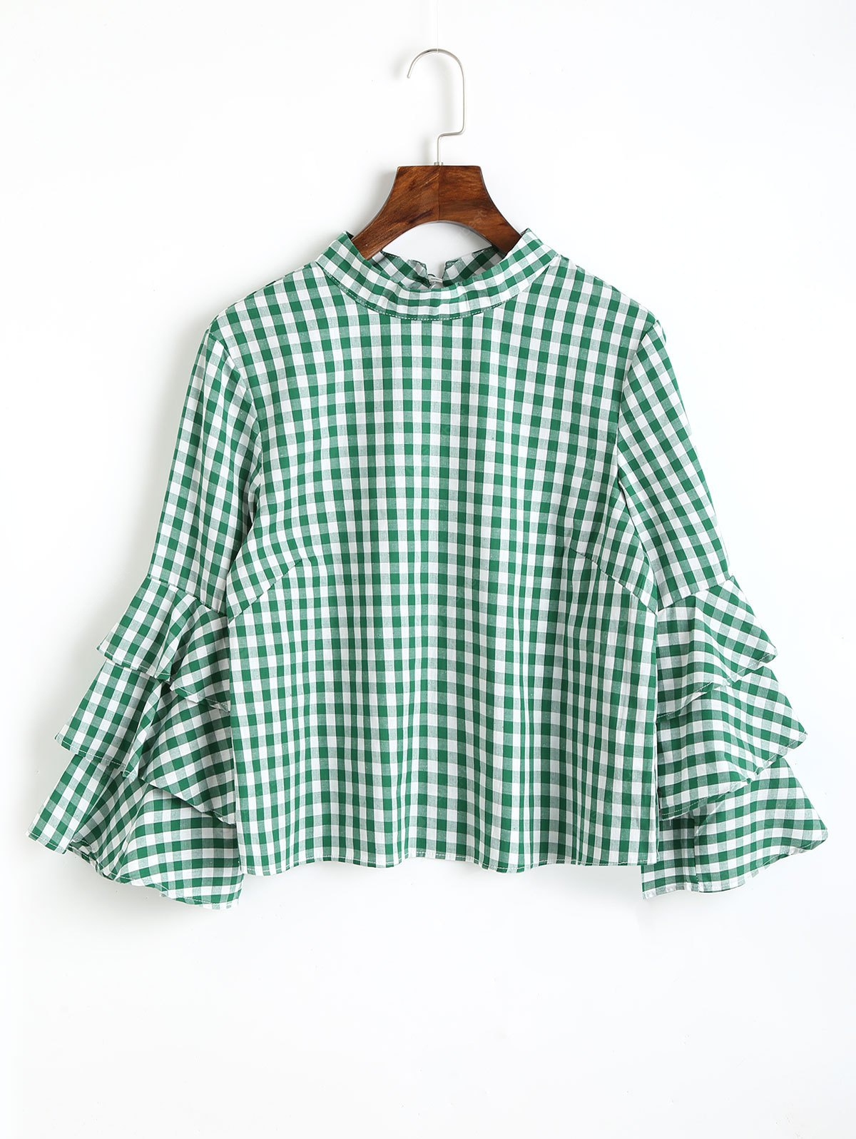 GREEN L Layered Sleeve Checked Keyhole Blouse
