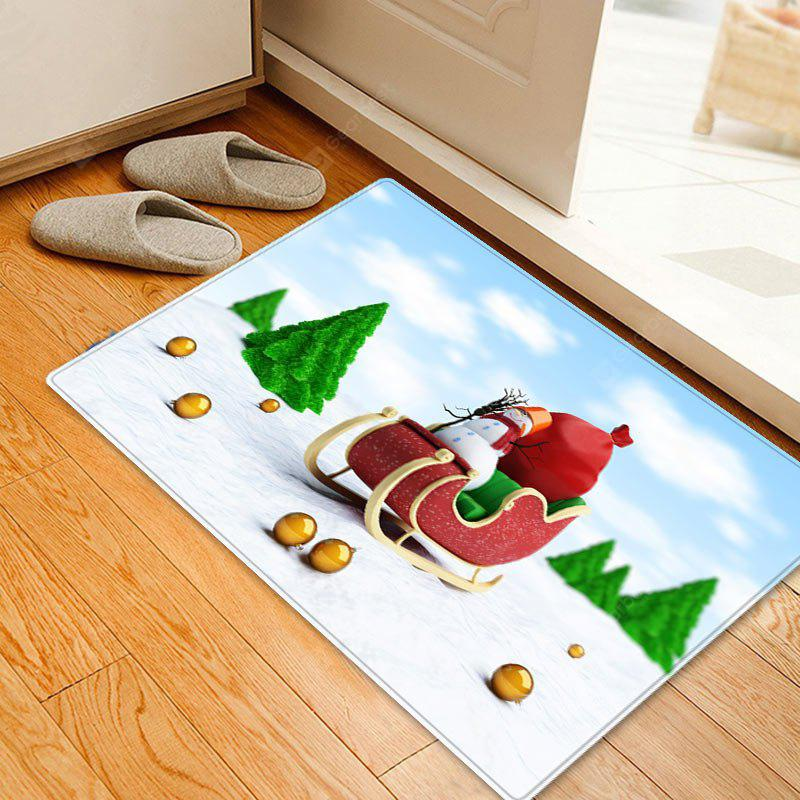 Christmas Trees Sleigh Pattern Water Absorption Area Rug