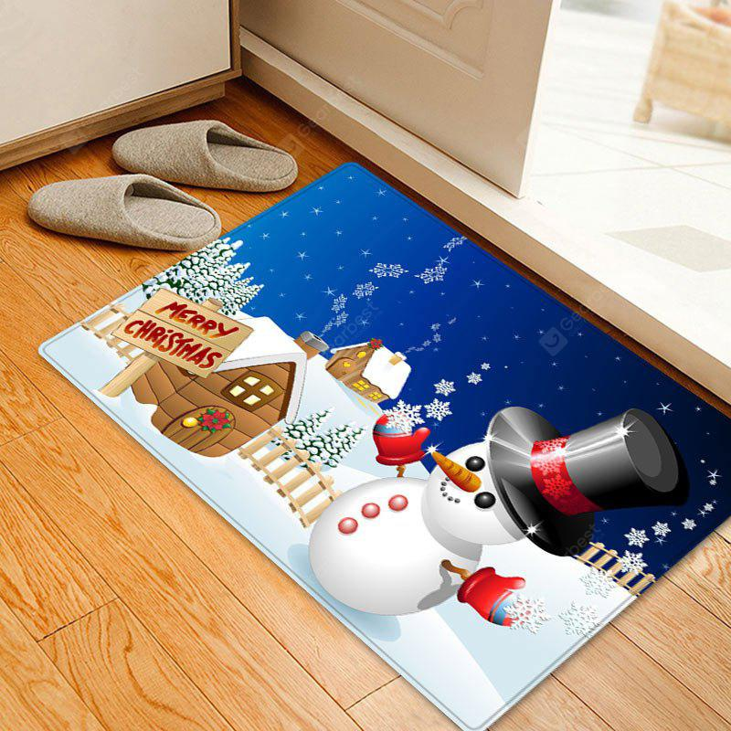 Christmas Snowman House Pattern Water Absorption Area Rug