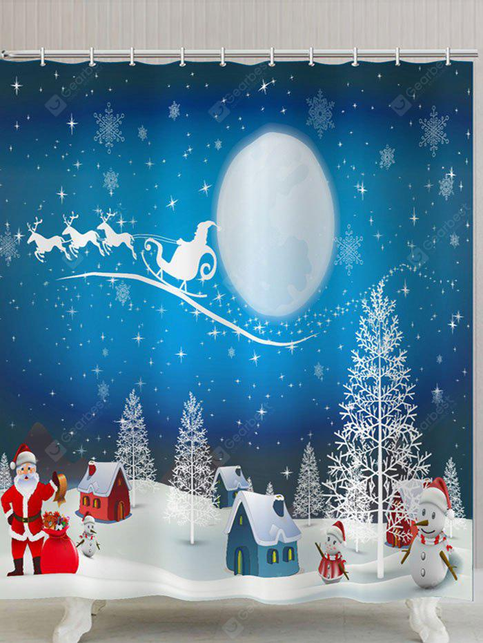 Moon Christmas Snowscape Print Waterproof Shower Curtain