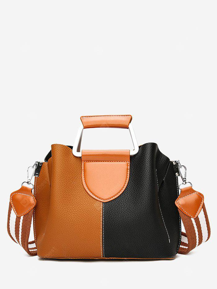 Contrasting Color Faux Leather Stitching Handbag