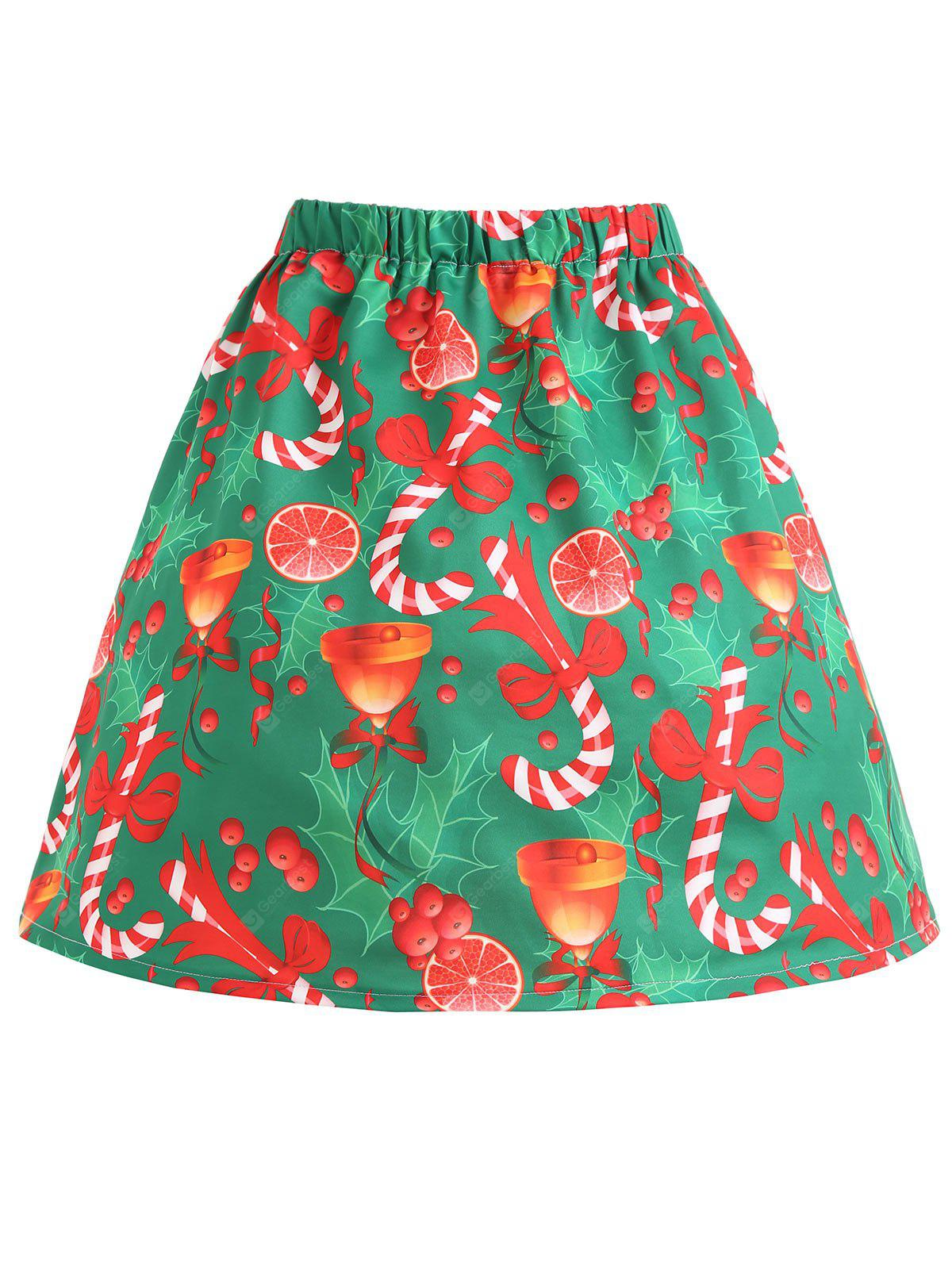 Christmas Bowknot Bell Print Plus Size Skirt