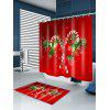 Christmas Candy Cane Print Waterproof Shower Curtain - RED