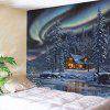 Snowy Trees Cabin River Aurora Print Wall Hanging Tapestry - COLORMIX