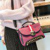 Studs Color Block Striped Crossbody Bag - PURPLE