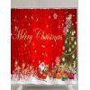 Merry Christmas Graphic Polyester Waterproof Shower Curtain - RED