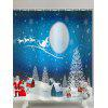 Moon Christmas Snowscape Print Waterproof Shower Curtain - BLUE