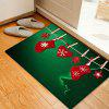 Christmas Hanging Socks Pattern Water Absorption Area Rug - GREEN