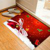 Christmas Bowknot Ball Pattern Water Absorption Area Rug - RED