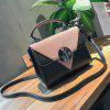 Triangle Pattern Color Block Crossbody Bag - PINK