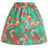 Christmas Bowknot Bell Print Plus Size Skirt - GREEN