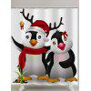 Christmas Cute Penguins Print Waterproof Shower Curtain - WHITE